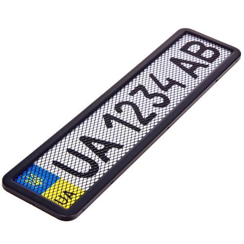 Рамка номера нерж. РНС-75055 с сеткой черная (РНС-75055)
