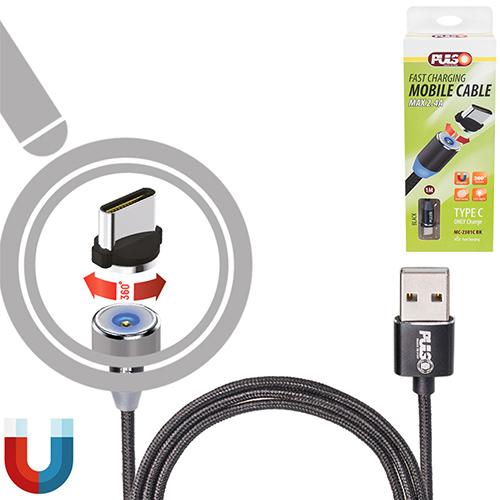 Кабель  магнитный PULSO USB - Type C 2,4А, 1m, black (только зарядка) (MC-2301C BK)