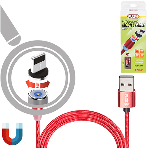 Кабель  магнитный PULSO USB - Lightning 2,4А, 2m, red (только зарядка) (MC-2302L RD)